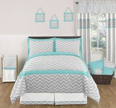 Turquoise and Gray Zig Zag Childrens and Kids Bedding - 3pc Full / Queen Set by Sweet Jojo Designs by Sweet Jojo Designs. $99.99. This design has matching accessories such as hampers, lamp shades, window treatments and wall decor.. Dimensions: Lightweight Comforter - Full/Queen (86in x 86in), Standard Shams (20in x 26in). This set is made of 100% cotton and is machine washable.. This set uses a modern gray and white Zig Zag print combined with turquoise and white solid cottons....