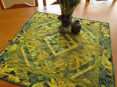 Handmade Quilted Green and Gold Leaves Table Topper by patchworkmountain.com