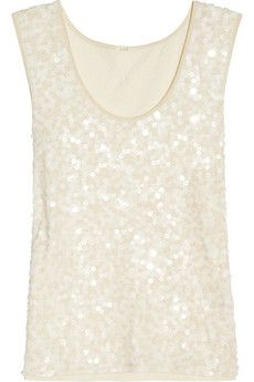 Sequined cotton tank