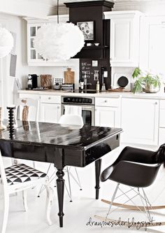 Nordic, global black and white kitchen