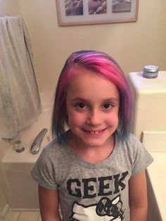 Mermaid hair for Bella! Kids Hair Color, Pink Ombre Hair, Mermaid Hair, Coloring For Kids, Trendy Hairstyles, T Shirts For Women, Fashion, Moda, Trendy Haircuts
