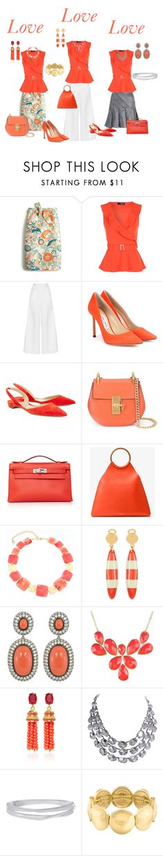 """Love Love Love"" by denise-grimes ❤ liked on Polyvore featuring J.Crew, Miguelina, Jimmy Choo, Paul Andrew, Chloé, Hermès, Michael Kors, Gloria Vanderbilt, Marni and Kenneth Jay Lane"