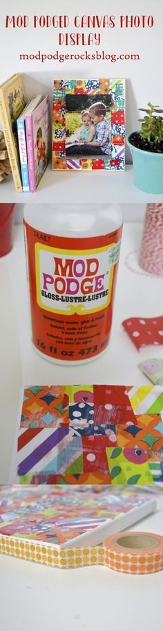Mod Podged Canvas Photo Display--using tissue paper! #modpodge #decoupage