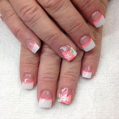 Nail art is a very popular trend these days and every woman you meet seems to have beautiful nails. It used to be that women would just go get a manicure or pedicure to get their nails trimmed and shaped with just a few coats of plain nail polish. French Nail Designs, Nail Art Designs, Floral Designs, Nails Design, Beachy Nail Designs, Coral Nails With Design, Tropical Nail Designs, Bright Nail Designs, Fingernail Designs