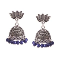 388f7ecb6 Bollywood Oxidized Silver plated Lotus studs jhumka jhumki white pearls  light weight traditional earrings for women (Blue)
