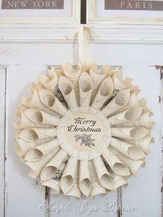 DIY christmas book page wreath