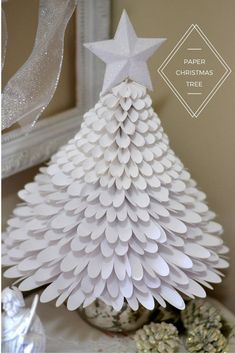 A Silhouette tutorial to make this pretty, white, whispy, paper Christmas Tree