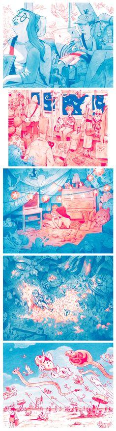 Adoro o estilo artístico e a forma como são apenas duas cores aplicadas. Poké Life by Matt Rockefeller