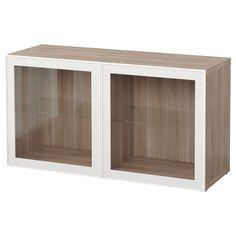 """IKEA - BESTÅ, Shelf unit with glass doors, walnut effect light gray/Glassvik white/clear glass, 47 1/4x15 3/4x25 1/4 """","""