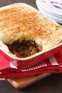 Lentil and Mushroom Sheppard pie - made vegan by subbing soy milk and not using yogurt