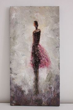 Figurative Painting dancer woman textured gold by SwallaStudio, $115.00