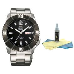 Orient EM7D002B Men's Hammerhead Sporty Black Dial Stainless Steel Automatic Watch with 30ml Ultimate Watch Cleaning Kit