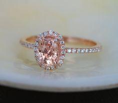 Rose gold engagement ring Peach sapphire diamond by EidelPrecious