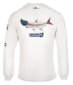 2a27ba9f This Hook & Tackle® American Tarpon shirt features a tarpon dressed up in  red, white and blue with the Hook & Tackle® logo on one sleeve and on the  front.