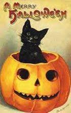 Vintage Halloween Postcard of black cat in Jack-O-Lantern