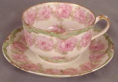 Haviland Drop Rose Tea Cup & Saucer - Pink Roses/Green Border Band Schleiger