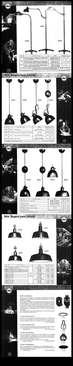 Rare Kaiser & Co. Work Lamp Catalogue 1936 - Pages 20 to 24 Industrial Lighting, Rustic Industrial, Lamp Design, Lighting Design, Work Lamp, Bauhaus Design, Modernism, Furnitures, Furniture Design