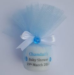 Personalised votive candle wrapped in blue tulle and tied with a satin ribbon. Other colours available. Baby Shower Candle Favors, Personalized Baby Shower Favors, Baby Shower Napkins, Mother And Father, Mothers, Votive Candles, Fathers Day, Party Favors, Shower Ideas