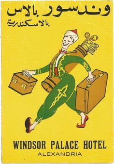 HOTEL WINDSOR PALACE luggage DECO label (ALEXANDRIA)