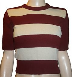 Claret & Oatmeal Striped Sweater by Rocket Originals