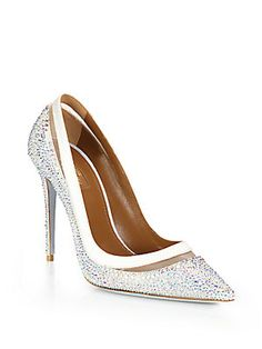 Aquazzura Fontana Crystal-Embellished Leather Mesh-Detail Pumps