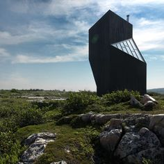 Tower Studio by  Saunders Architecture  small twisted tower is one of the six artists' studios that Saunders Architecture of Norway are constructing on Fogo Island off the coast of Canada.