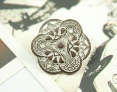 Gothic Flower Art Metal Buttons , Copper Patina Color , Shank , 0.55 inch , 10 pcs on Etsy, $5.50