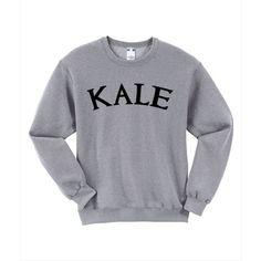 KALE Sweatshirt Tumblr Sweatshirt Pinterest Unisex Cute Size S M L XL ($22) ❤ liked on Polyvore featuring tops, hoodies, sweatshirts, kale sweatshirt, loose tops, unisex tops, loose fit tops and loose fitting tops