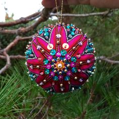 Sequin Beaded Fabric Ornament by SomethingMyMomMade on Etsy