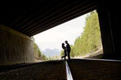 Train track silhouette for an engagement portrait