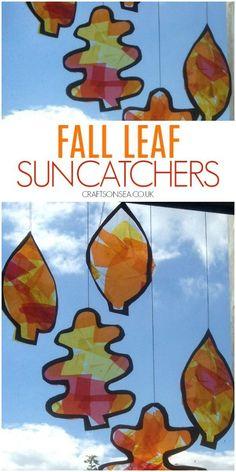 fall leaf suncatcher craft for kids #fall #autumn #kidscraft #activities #preschool