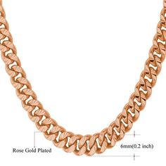 Necklace Long/Choker Silver/Rose Gold/Black/Gold Color Cuban Link Chain Hip Hop Jewelry