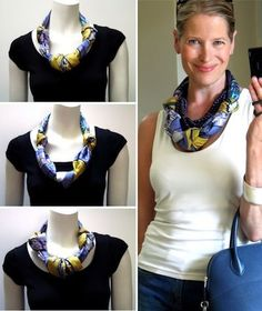 Just tie three knots in your scarf, then put it on your neck like a necklace. Tie the scarf behind your neck and fluff the knots to taste.