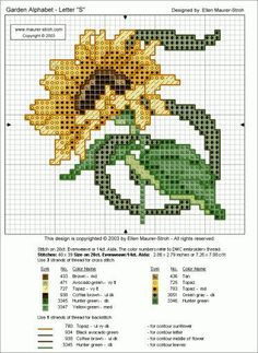 Flower Alphabet - The Letter S - Sunflower - - - 62 pgs alphas, large flower/letter charts spread through-out