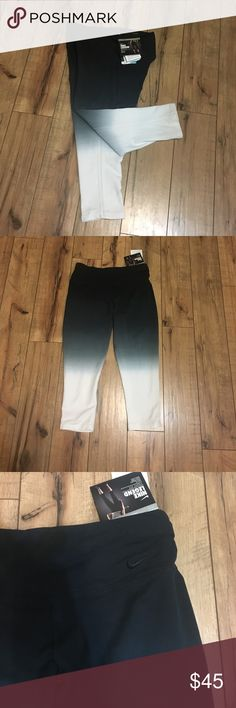 """🎉🎉🎉 Nike ombré  leggings 🎉🎉🎉New with tags's ombré  leggings size small can fit medium. """" stay cool """" design perfect for the upcoming weather. Fades from black to light blue to white with a ombré effect. Nike Pants Ankle & Cropped"""