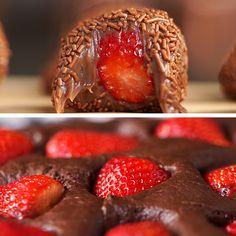 2 Doces com Chocolate e Morango - Healthy dinner ideas Yummy Treats, Delicious Desserts, Sweet Treats, Dessert Recipes, Yummy Food, Diy Food, Food Ideas, Chocolate Recipes, Cake Chocolate