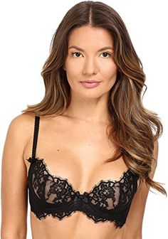 14500a0320 Stretch-microfiber full-cup bra featuring embroidered tulle overlay and  full floral-mesh cups with scalloped trim Sheer center gore with satin bow  Firm ...