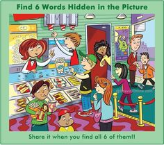 Find 6 hidden words in the picture. Hidden Words In Pictures, Hidden Picture Puzzles, Word Pictures, Hidden Images, Spot The Difference Kids, Picture Composition, Picture Writing Prompts, Six Words, English Activities