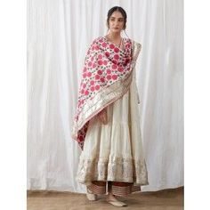 Off White Cotton Gota Anarkali with Green Block Printed Palazzo and Pink Dupatta - Set of 3