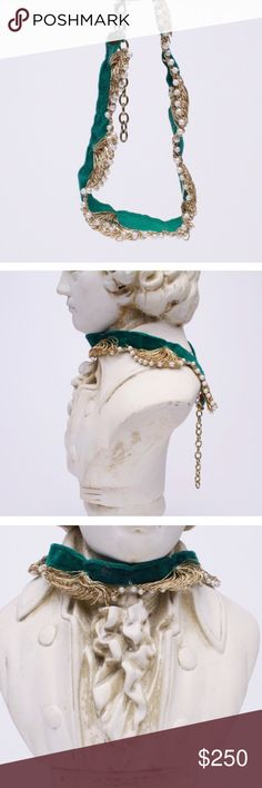 """EMERALD V E L V E T/GOLD Embroidery+Pearl Choker• BOUTIQUE • \\tRINITY Squared•VINTAGE// Emerald green adjustable choker ::: synthetic pearls ::: hand embroidered gold scalloping along bottom edges with pearls ::: adjustable gold tone hardware ::: One•of•a•kind ::: Approximately [14""""] at shortest length• Vintage Jewelry Necklaces"""