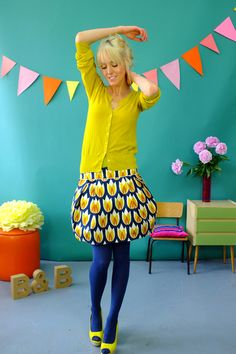 bonnie and buttermilk Quirky Fashion, Colorful Fashion, Timeless Fashion, Vintage Fashion, Colored Tights Outfit, Blue Tights, Classy Outfits, Chic Outfits, Beautiful Outfits