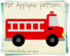 Fire Truck Applique Pattern -  Emergency Vehicle Applique Template / Fire Truck Quilt Pattern / Kids Boys Nursery Blanket / Clothing AP292-D...