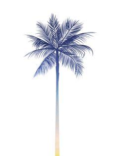 Palm Tree Print Sunset Art Palm Print Blue by MelindaWoodDesigns