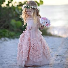 So absolutely precious in Isn't this a fabulous flower girl dress for a destination or boho chic wedding! - The latest in Bohemian Fashion! These literally go viral! Cute Flower Girl Dresses, Tulle Flower Girl, Tulle Flowers, Chiffon Flowers, Little Girl Dresses, Girls Dresses, Dresses 2016, Princess Flower, Bohemian Flower Girl Dress