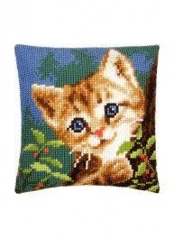 Kit coussin chat curieux, point de croix 40 x 40 cm, Bergère de France