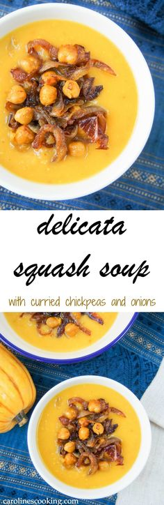 This delicata squash soup is super easy to make and tastes delicious, especially with the curried chickpea & onion topping. Perfect for lunch on a cold day. Vegetarian, vegan and gluten free. Healthy Soup Recipes, Chili Recipes, Vegan Recipes, Delicious Recipes, Vegan Soups, Amazing Recipes, Squash Soup, Soup And Salad, Soups And Stews