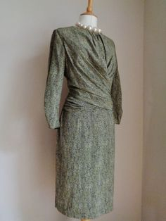 f1dac0c98f9 HOBBS GREEN BLACK SIGNATURE RUCHED WAIST TWIST SILK DRESS SZ UK 14  fashion   clothing  shoes  accessories  womensclothing  dresses (ebay link)