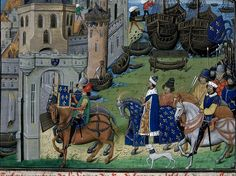 Detail of a miniature of the king of France arriving at Sluys with his army. Origin: France, N. E. (Lille?) and Netherlands, S. (Bruges) Attribution: Master of the Vienna and Copenhagen Toison d'Or