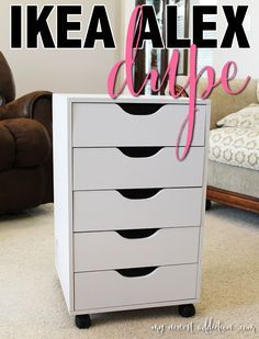 I have finally found a viable option for an IKEA Alex dupe from Michael's, the Recollection 5 Drawer Rolling Letterpress. YAY For IKEA Alex dupes! Ikea Alex Dupe, Alex Drawer Dupe, Alex Drawer Vanity, Rangement Makeup, Ikea Alex Drawers, Make Up Storage, Storage Ideas, Drawer Ideas, Craft Storage