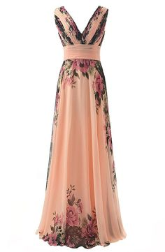 JAEDEN Long V-neck Flower Printed Bridesmaid Dresses Chiffon Evening Gowns at Amazon Women's Clothing store:
